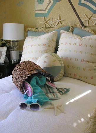 bedroom: Beach themed bedroom interior
