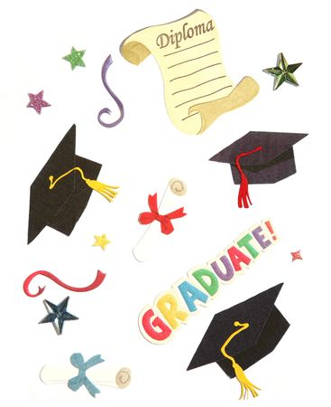 scroll: Graduation design elements over white Stock Photo