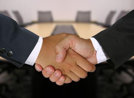Two businessmen shaking hands in the boardroom
