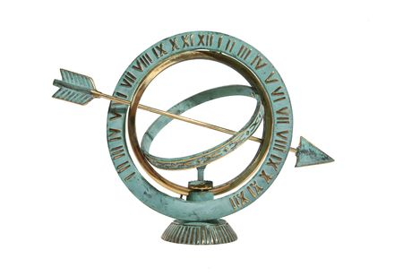 timekeeper: Sundial isolated over white