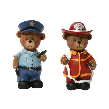 constable: Policeman and Fireman Bears over white