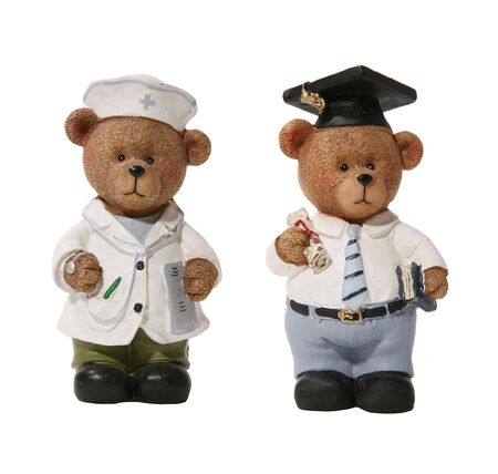 sic: Doctor and Graduation Bears over white Stock Photo