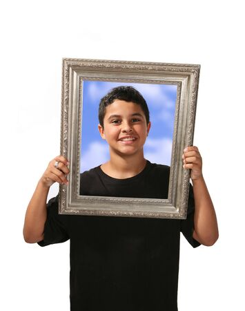 Happy child in picture frame Stock Photo - 500859