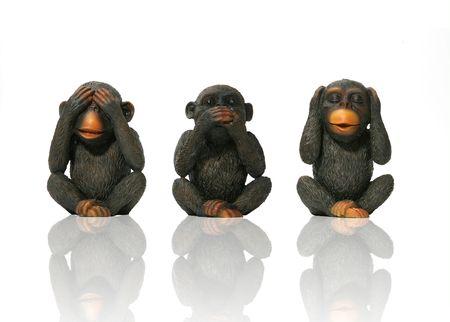 chimpansee: Zie geen kwaad. Spreek geen kwaad, Hoor geen kwaad Monkeys Stockfoto