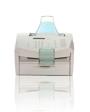 copier: Printer, scanner, fax en kopieerapparaat over wit