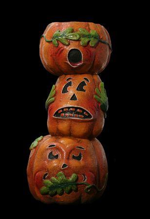 See No, Hear No, Speak No Evil pumpkins Stock Photo