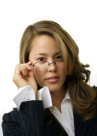 A pretty librarian adjusting her glasses Stock Photo - 607690