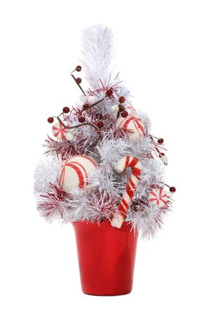 candy cane: A candy cane Chrsitmas tree isolated over white Stock Photo
