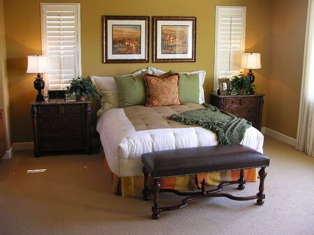 A luxuus bedroom inter inside a residential home Stock Photo - 607673