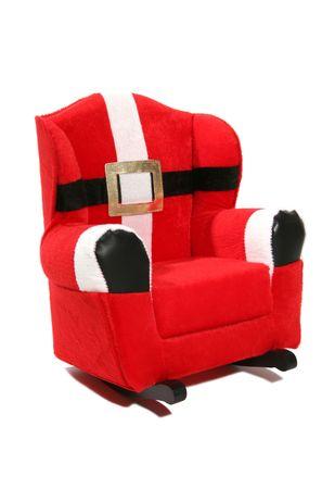 A santa claus rocking chair over white photo