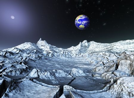 cleft: A rendering of a fantastic view froom space Stock Photo
