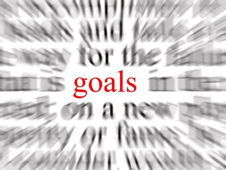 ethics and morals: Blurred text with a focus on goals Stock Photo