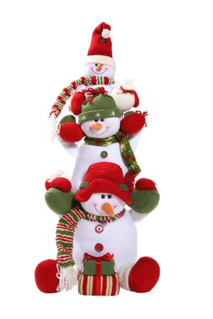 others: Snowmen family stacked on each others shoulders Stock Photo