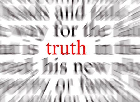 validez: Borrosa texto con un enfoque en la verdad  Foto de archivo