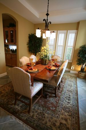 shutter: A beautifully decorated dining room interior Stock Photo