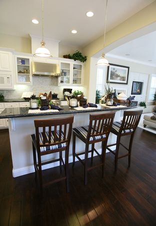 A beautiful, contemporary kitchen inter in an upscale home Stock Photo - 648105