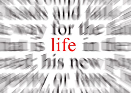liveliness: Blurred text with a focus on life Stock Photo