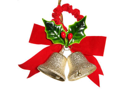Colorful holiday bells and holly isolated over white Stock Photo - 648002