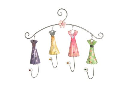 A cute and colorful girls clothes hanger photo