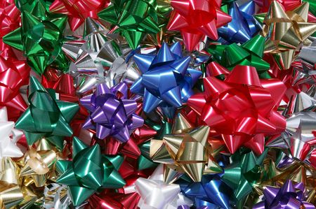 A background of colorful Christmas bows Stock Photo - 664924