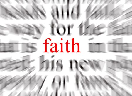 veneration: Blurred text with a focus on faith