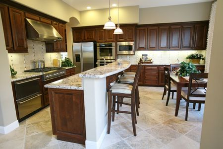 A contemporary kitchen inter in an upscale home Stock Photo - 664929