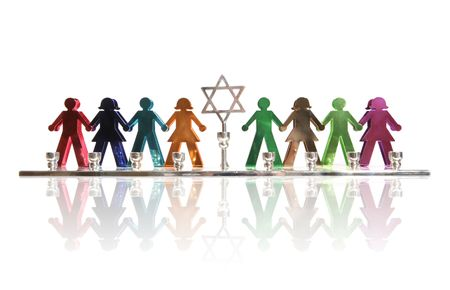 A colorful menorah of kids holding hands
