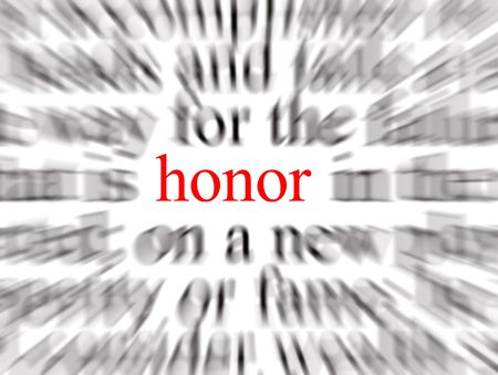 righteous: Blurred text with a focus on honor Stock Photo