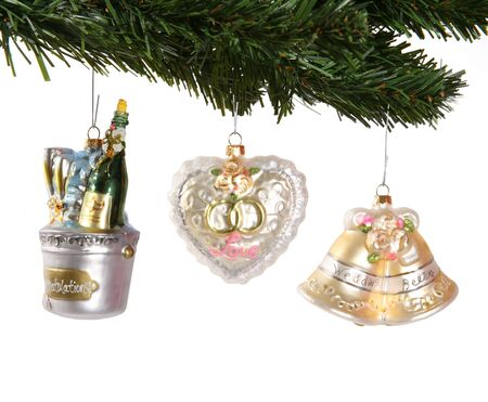 A Christmas tree decorated with wedding ornaments Stock Photo - 673556