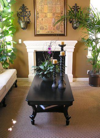 A living room interior inside an upscale home