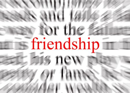 affinity: Blurred text with a focus on friendship Stock Photo