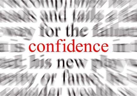 firmeza: Texto velado con un foco en confianza Foto de archivo