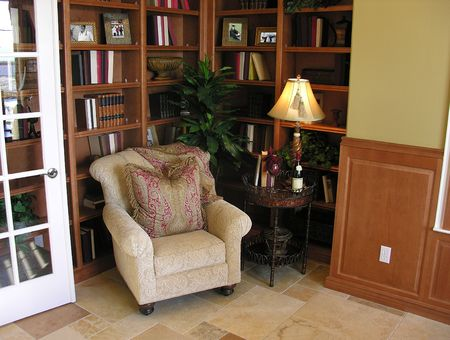 An office research library inside a home Stock Photo