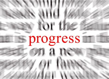 advancement: Blurred text with a focus on progress Stock Photo