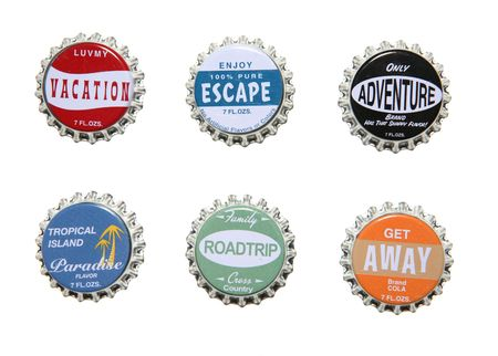 respite: Vacation themed bottle caps, perfect for design elements