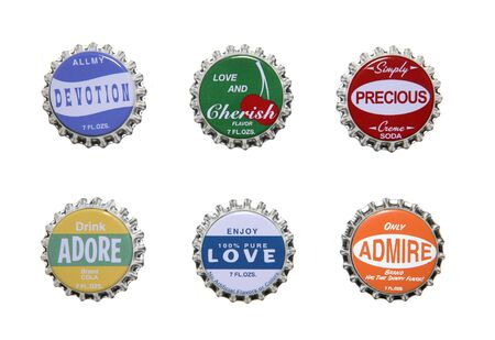Six emotion themed bottle caps over white Stock Photo - 693782