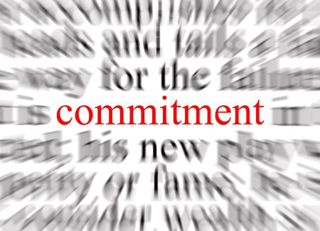 vow: Blurred text with a focus on commitment Stock Photo
