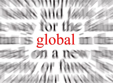 thorough: Blurred text with a focus on global