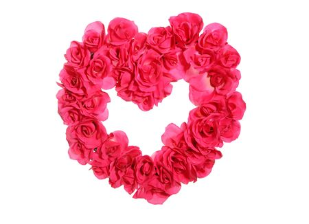 Pink roses in the shape of a heart