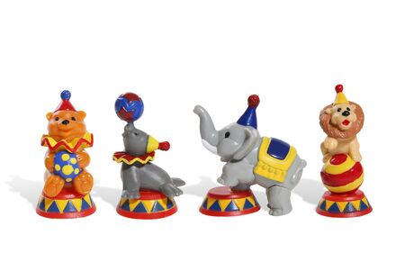 Colorful circus toys of a  lion, bear, elephant and seal photo