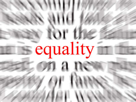 justness: Blurred text with a focus on equality