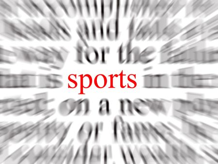 Blurred text with a focus on sports photo