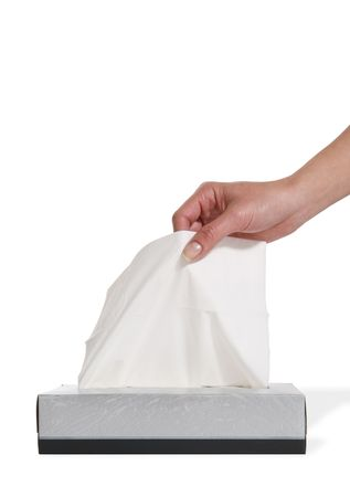 incurable: A woman pulling a tissue from the box