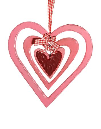 A valentines heart decoration isolated over white