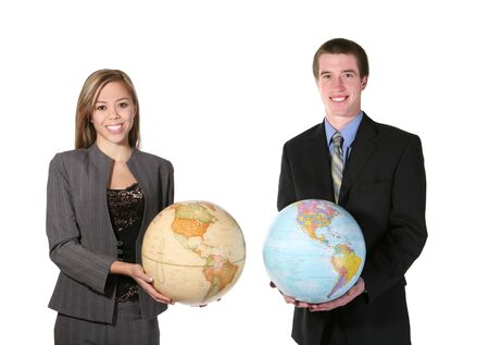 online internet presence: A young man and woman holding globes against a white background
