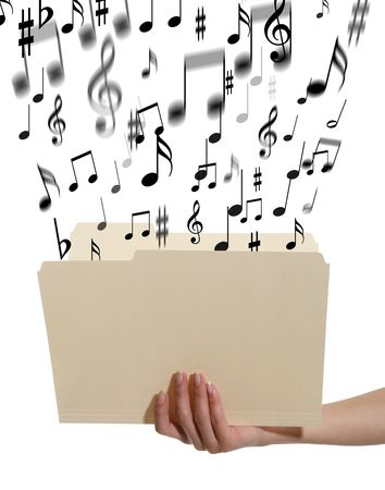 A woman holding an open manilla folder with music notes coming out photo