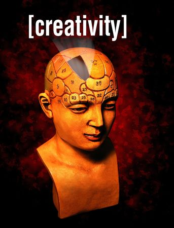 A psychology model highlighting the creativity area of the brain photo