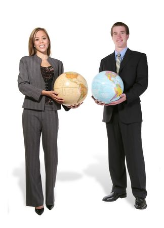 online internet presence:  A business team holding up globes of the earth