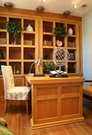 A beautiful home office interior in an upscale home
