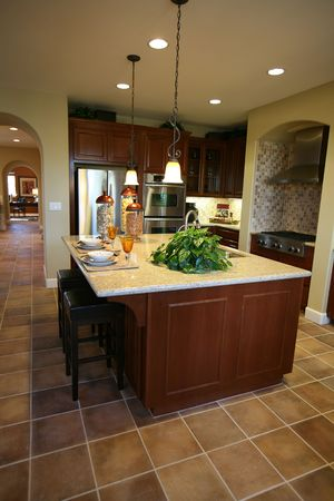 fridge lamp: Beautiful kitchen interior inside an upscale home